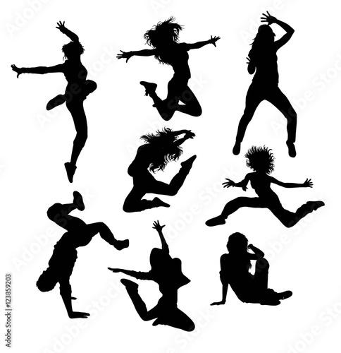 Hip hop art dancer silhouettes illustration art vector for Ballerine disegnate