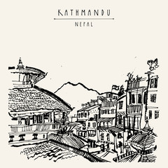 Temples of Durbar square, Himalayan mountains and residential buildings in Kathmandu, Nepal. Above city view. Hand drawn touristic postcard, poster, book illustration