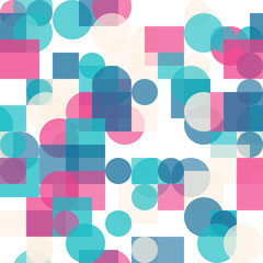 Seamless Geometric Bright Colors Pattern. Repetitive Texture. Modern Ornament with Transparen Circles and Squares. Abstract Vector Background