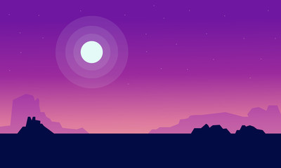 Canvas Prints Violet Silhouette of fields with moon landscape