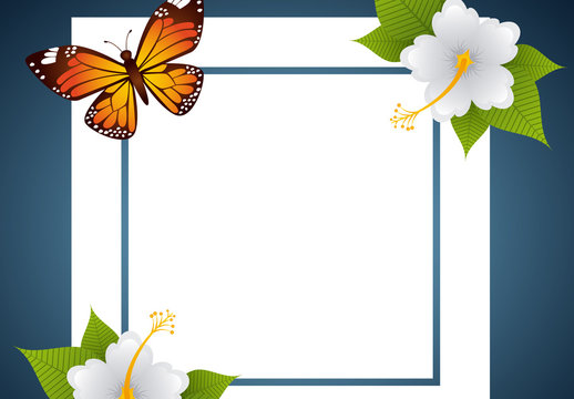 Decorative Butterfly and Flowers Frame