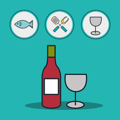 wine bottle and cup with fish and kitchen utensil over blue background. vector illustration
