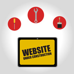 screwdriver with wrench and paint brush over red circles over white background. website under construction design. vector illustration