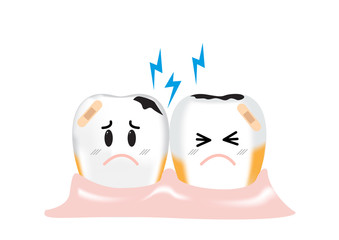 Two dirty teeth are painful from decay and plaque, vector illustration