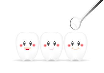 Tooth smile emotion with dental mirror on white background , vector illustration.