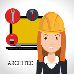 avatar woman smiling architect with yellow helmet and laptop computer. vector illustration