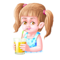 Girl drinks mango juice