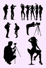 Photographer and model silhouette