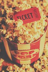 Retro film stub and movie popcorn