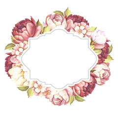 Frame with roses. Hand draw watercolor illustration