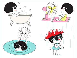Weekend Life Character illustration set