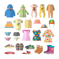 Vector set of baby clothes in flat style. Children clothing collection icons and design elements