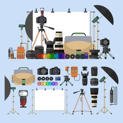 Vector set of photography isolated objects. Photo equipment design elements and icons in flat style. Digital cameras for professional studio