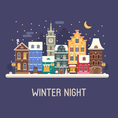 Winter night city background. Snowy Christmas street flat landscape with colorful european houses and New Year decorations. Christmas night europe city winter card with building facades and snowfall.