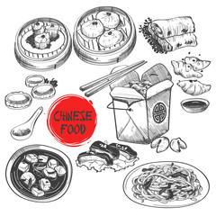 Chinese Dim Sum Dish in Ink Style