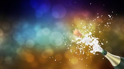 Celebration theme with splashing champagne, on colorful bokeh background. 3d illustration