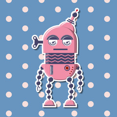 Funny robot pink color in retro style. Vector cartoon illustration on colorful background. Happy children vintage robot.