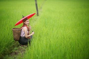 Beautiful Asian woman farmer with red umbrella in Rice farm. agr