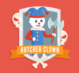 butcher clown logo vector illustration design
