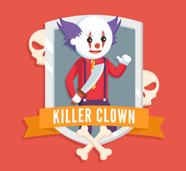 killer clown logo vector illustration design