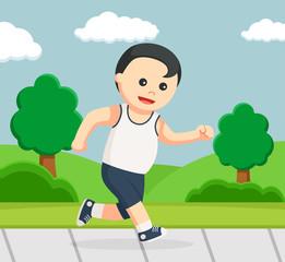 healthy fat man running in park