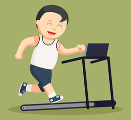 healthy fat man run on a tread mill