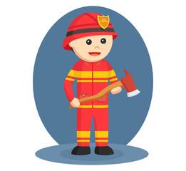 firefighter wielding axe vector illustration design