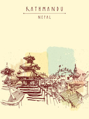 Durbar square Hindu temples in Basantapur, Kathmandu, Nepal, before earthquake. Travel sketch. Hand drawing. Vintage touristic postcard, poster, book illustration