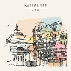 Kathmandu, Nepal, Asia. Hindu shrine and old historic wooden residential house. Travel sketch. Hand drawn vintage postcard, poster template or book illustration