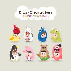 cute kids wearing animal costumes cartoon character