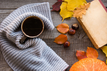 Mug of coffee, cozy knitted scarf, autumn leaves, open book and pumpkin on wooden board. Autumn still life, vintage style. Flat lay.