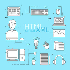HTML coder icons set. White HTML line icons. Vector illustrations for business, corporate design, computer store.