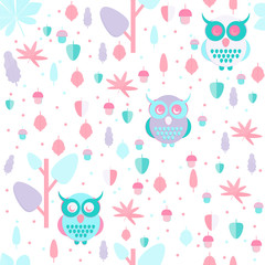 Owl in leaves pattern. Seamless autumn background with foliage and owls in pastel colors. Flat style illustration.