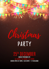 Christmas party flyer template. Beautiful vector background with fireworks and with a garland from flags and confetti. Vector illustration. Design of invitation to night club.