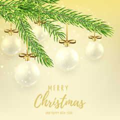 Merry Christmas gift card with glass balls. Elegant vector illustration for xmas design. Happy New Year background with fir branch and shining light.