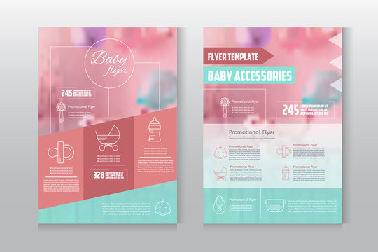 Baby flyer letterhead template. Business brochure flyer design layout template with blured background. Baby accessories concept flyer.