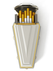 Cigarettes inside white coffin. 3D illustration
