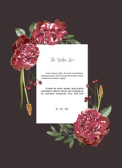 Luxurious red bouquet floral invitation card and white rectangle label ,vector Illustration