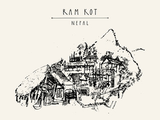 Ram Kot village in Nepal. Traditional Nepalese houses in the Himalayan mountains. Trekking destination. Vintage touristic postcard or poster
