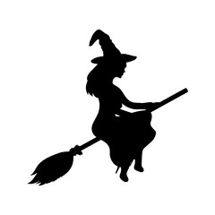 Young witch flying on a broomstick