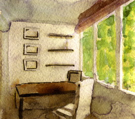 watercolor sketch of modern office on white background