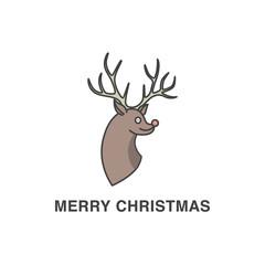 Christmas deer's head vector illustration
