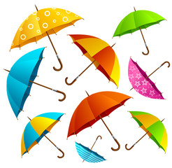 Falling Color Umbrellas Background. Vector