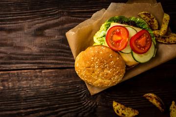 Grilled beef hamburger