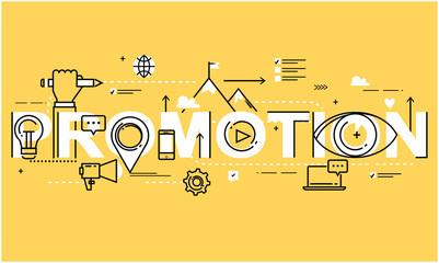 Flat line business vector illustration design for online social media marketing campaign, digital promotion. Internet, web advertising background. Strategic marketing infographic elements, web banner