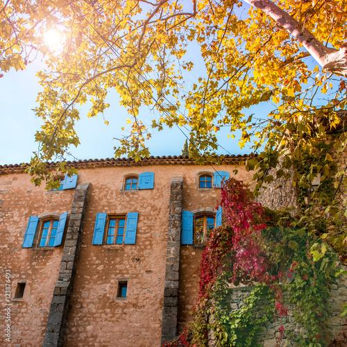 Fa ade de maison ancienne avec feuillage d 39 automne stock for Fissure facade maison ancienne