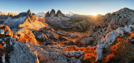 Dolomites mountain panorama in Italy at sunset - Tre Cime di Lav Wall mural