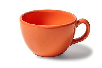 Orange cup of coffee empty on a white background