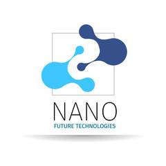 Nano logo - nanotechnology. Template design of logotype. Vector presentation.