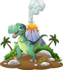 Cartoon happy dinosaur in the prehistoric background